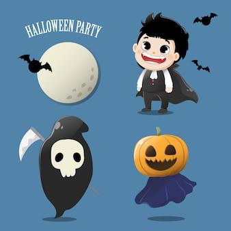Stellen sie den niedlichen geist in der halloween-party ein.