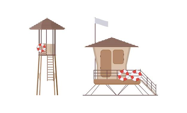 Stellen sie den rettungsschwimmerturm am strand ein, um ertrinkende zu retten.