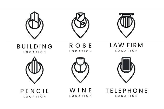Stellen sie den standort mit der inspiration für das logo-design des linienstiftkonzepts ein