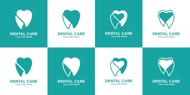 Stellen sie den zahnmedizinischen logo-designvektor der sammlung ein