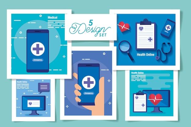 Stellen sie designe der medizin online und der ikonen ein