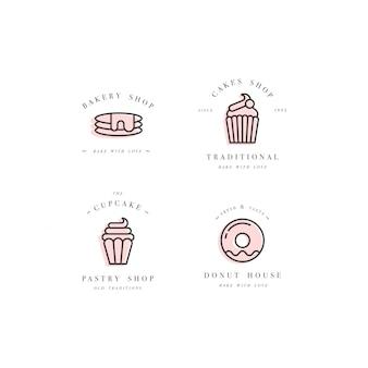 Stellen sie designvorlagen und embleme ein - cupcake-, donut- und backsymbol für bäckerei. süßwarenladen.