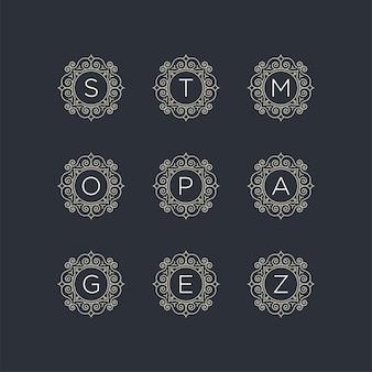 Stellen sie die anfängliche logo-vorlage s, t, m, o, p, a, g, e, z ein
