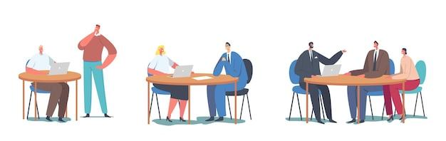 Stellen sie die arbeit mit dem kundenkonzept ein. büroleiter oder angestellte, die am schreibtisch sitzen, kommunizieren mit den charakteren der kunden, die dienstleistungen, konsum, unterstützung, support anbieten. cartoon-menschen-vektor-illustration
