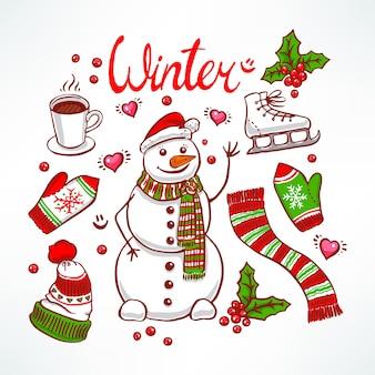 Stellen sie die attribute eines winterschneemanns und freundlich ein. handgezeichnete illustration