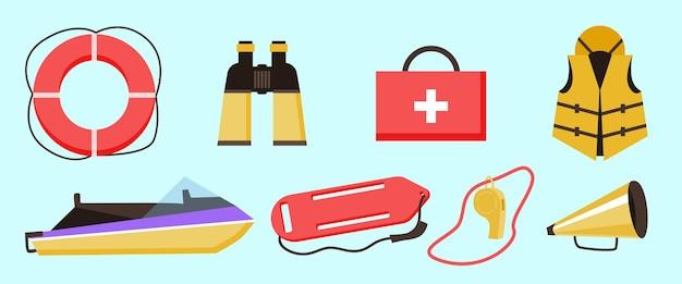 Stellen sie die ausrüstung des rettungsschwimmers für die rettung und die medizinische erste hilfe beim ertrinken ein