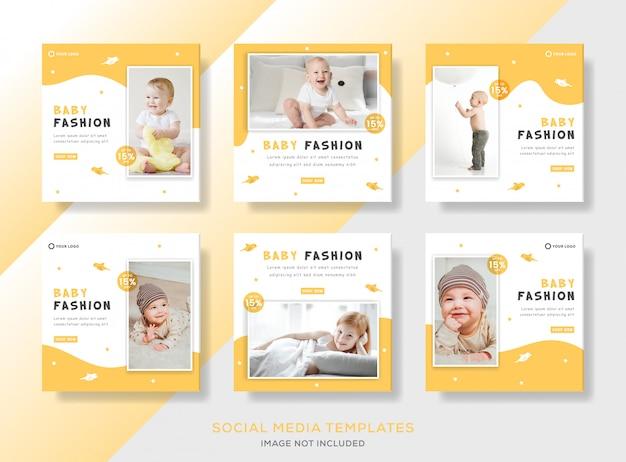 Stellen sie die babymode der bannerschablone mit der gelben farbe für den instagram-beitrag der sozialen medien ein.