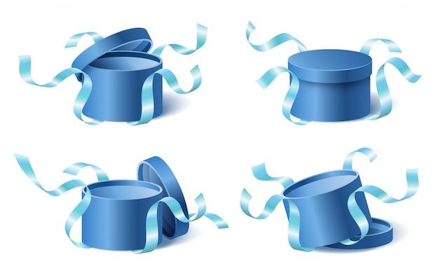 Stellen sie die blaue geschenkbox der symbole mit bändern und geschlossenem und geöffnetem deckel ein