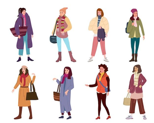 Stellen sie die charaktere der jungen frau in den modischen outwear-frauen der modischen kleidung ein.