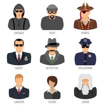 Stellen sie die charaktere von kriminellen und strafverfolgern ein