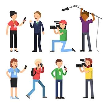 Stellen sie die charaktere von rundfunk, reportage und interview ein