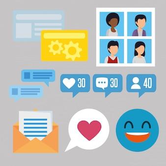 Stellen sie die community-nachricht mit der social-chat-blase ein