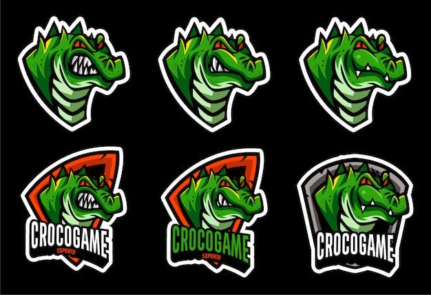 Stellen sie die crocodile alligator head-logo-vorlage ein