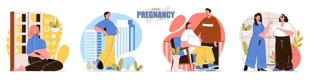 Stellen sie die flache designkonzeptillustration der schwangerschaft der leutecharaktere ein