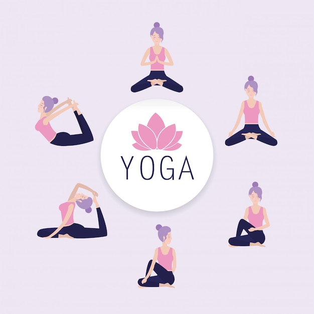 Stellen sie die frau ein, die yoga-gleichgewicht hält