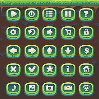 Stellen sie die grünen schaltflächen von feed the fox gui match 3 für das web-videospiel ein
