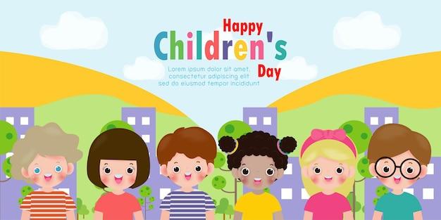 Stellen sie die gruppensammlung der niedlichen babykindercharaktere ein, die aktivitäten in verschiedenen verschiedenen posen spielen, glückliche kinderkarte