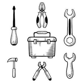 Stellen sie die handgezeichnete illustration des arbeitswerkzeugkastens ein