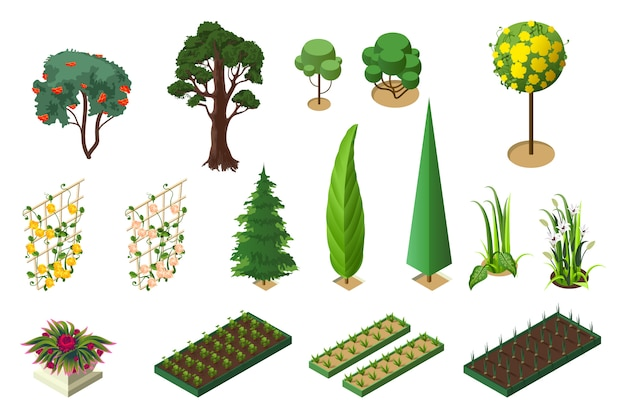 Stellen sie die isometrie der pflanzen für den garten ein. bäume, blumenbeete und gemüsebeete