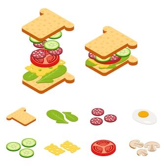 Stellen sie die isometrischen sandwich- und hamburger-zutaten des konstrukteurs ein