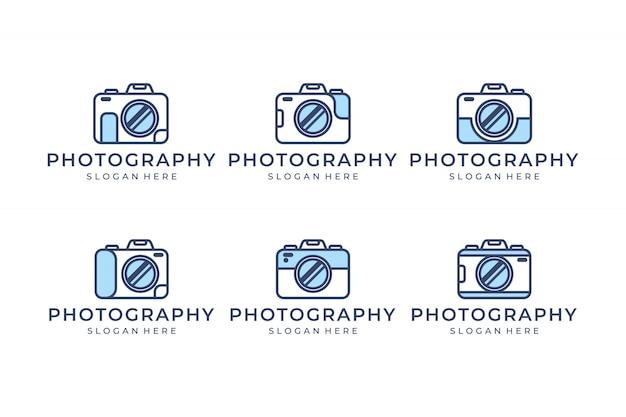 Stellen sie die kamera mit inspiration für das design des linienkonzept-logos ein
