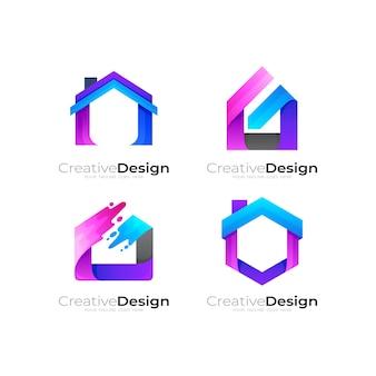 Stellen sie die kombination aus gebäudelogo-design, hauslogo und immobilienikonen ein
