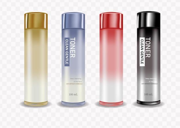 Stellen sie die kosmetikflasche auf weißem hintergrund ein, ideal für die gesichtsreinigung, verpackungstoner