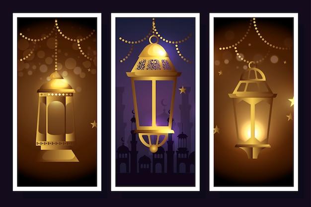 Stellen sie die laternen ein, die vom ramadan kareem hängen