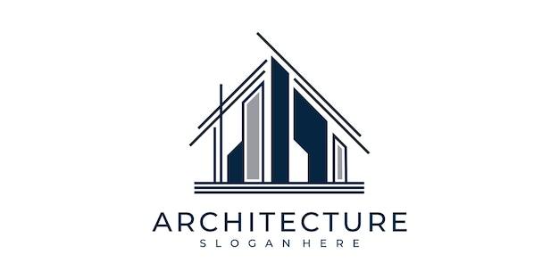 Stellen sie die logo-architektur mit der inspiration für das logo-design des linienkunst-konzeptkonzepts ein