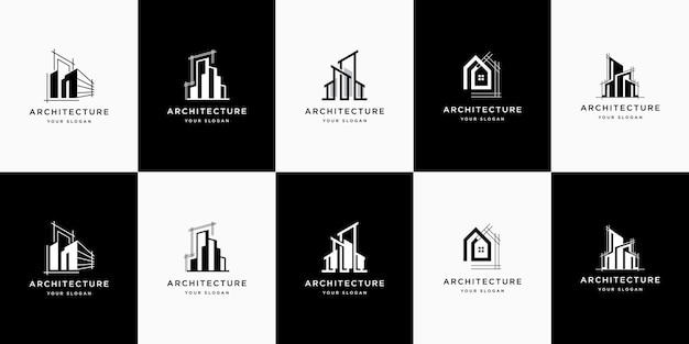 Stellen sie die logo-architektur mit inspiration für das logo-design des linienkonzepts ein
