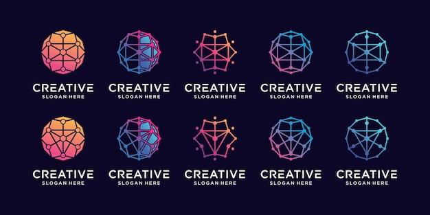Stellen sie die logo-design-technologie für die bündelverbindung mit kreislinie und punktstil ein premium-vektor