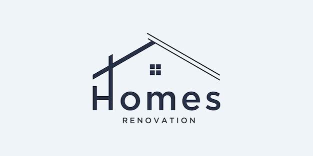 Stellen sie die logo-immobilienarchitektur mit der designvorlage für das linienkonzept-logo ein.