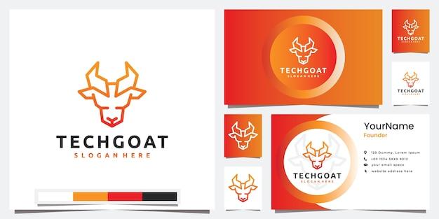 Stellen sie die logo-technologie mit der logo-design-inspiration des kopfziegen-linienkunststils ein