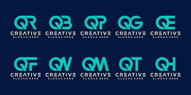 Stellen sie die logo-vorlage für den abstrakten buchstaben q ein