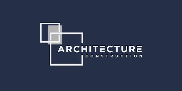 Stellen sie die logoarchitektur mit der logoinspiration des linienkonzepts ein