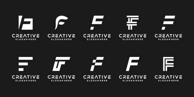 Stellen sie die moderne buchstaben-f-logo-vorlage ein