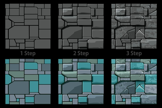 Stellen sie die nahtlose steinstruktur ein, 3-schritt-zeichnung. hintergrund steinmauer fliesen.