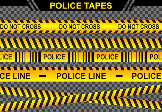 Stellen sie die polizeilinienillustration, das verbrechensgefahr-tatortkonzept ein, greifen sie auf die sicherheit des bandbannersymbols zu, die gelbe bandwarnung der linie, unterschreiben sie den isolierten hintergrundtransparanten