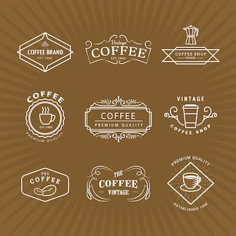 Stellen sie die retro-schablone des vintage-etiketts der kaffeelogo-tafel ein