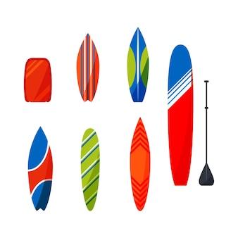 Stellen sie die sammlung der surf-schreibtische für die vektorillustration der surferausrüstung ein.