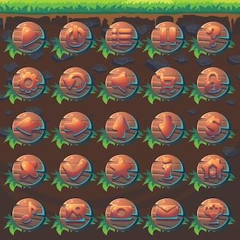 Stellen sie die schaltflächen von feed the fox gui match 3 für das web-videospiel ein