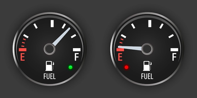 Stellen sie die schwarze tankanzeige ein. motorgasanzeige. kraftstoffzähler leeren. armaturenbrett mit anzeige