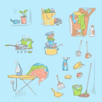 Stellen sie die skizzenfarbillustration auf einen blauen hintergrund von gegenständen und situationen der hausarbeit ein. ungewaschenes geschirr und nicht gebügeltes leinen, gegenstände und zubehör zum reinigen, kaufen von lebensmitteln und kochen.