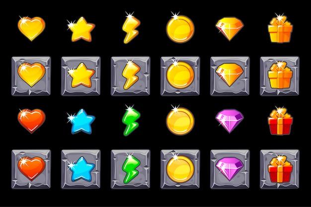 Stellen sie die symbole der spiel-benutzeroberfläche für spiele auf das steinquadrat.