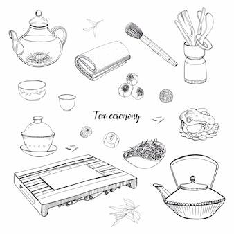 Stellen sie die teezeremonie mit verschiedenen traditionellen werkzeugen ein. teekanne, schalen, gaiwan. kontur hand gezeichnete illustration.