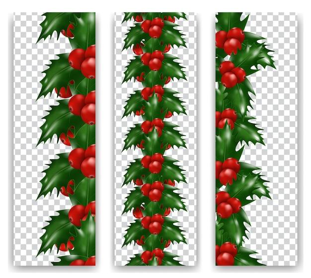 Stellen sie die vertikale grenze der weihnachtsstechbeerenbeeren auf transparentem hintergrund ein. weihnachts- oder neujahrsdekorationen.