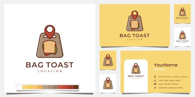 Stellen sie die vorlage für den toastort der logotasche ein