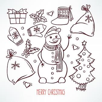 Stellen sie die weihnachtsattribute und den freundlichen schneemann ein. handgezeichnete illustration
