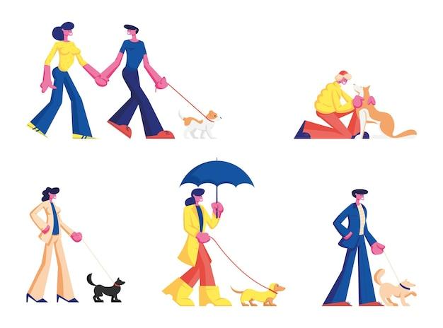 Stellen sie die zeit ein, die menschen mit haustieren im freien verbringen. karikatur flache illustration