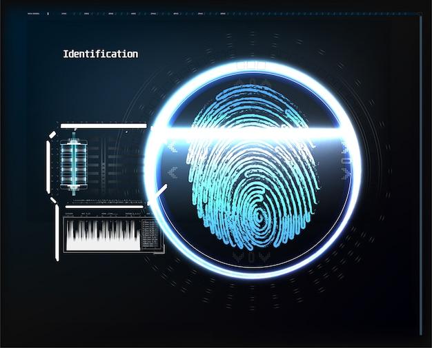 Stellen sie digitale erkennung gegenüber, identifikation stellt das biometrische scannen gegenüber, um abstraktes futuristisches des sicheren zugangs. scannen sie gesicht digital, erkennungsüberprüfung und identifizierungsillustration